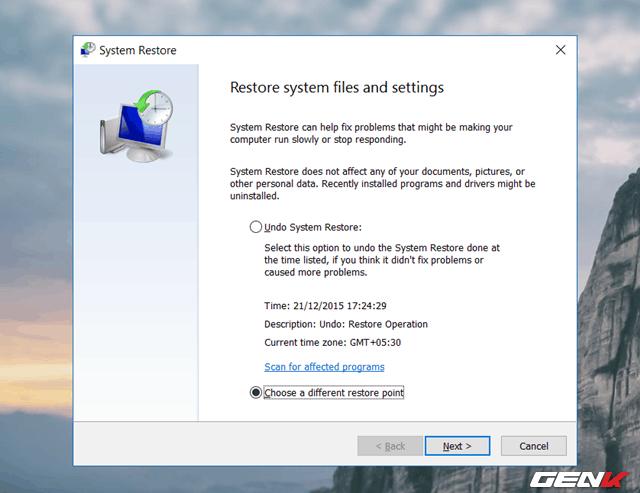 Cache của System Restore
