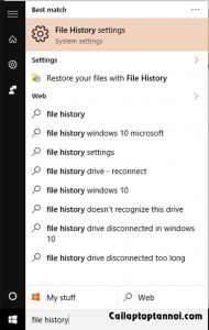 File History bằng Search Windows