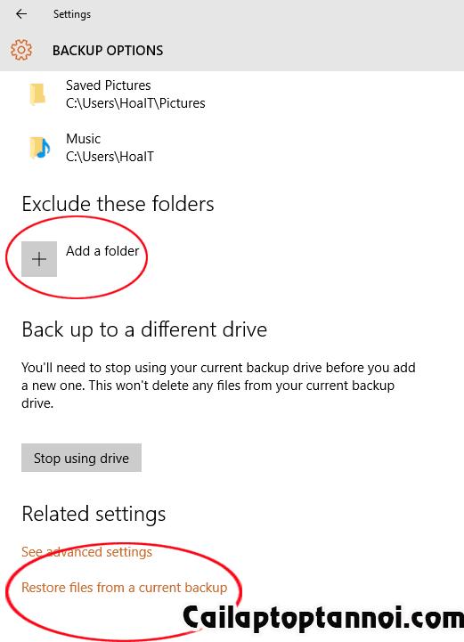 Khôi phục dữ liệu từ Files History