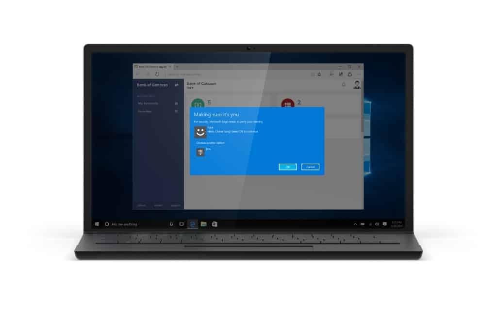 Mang Windows Hello sinh trắc học An ninh Ứng dụng vào trình duyệt Microsoft Edge