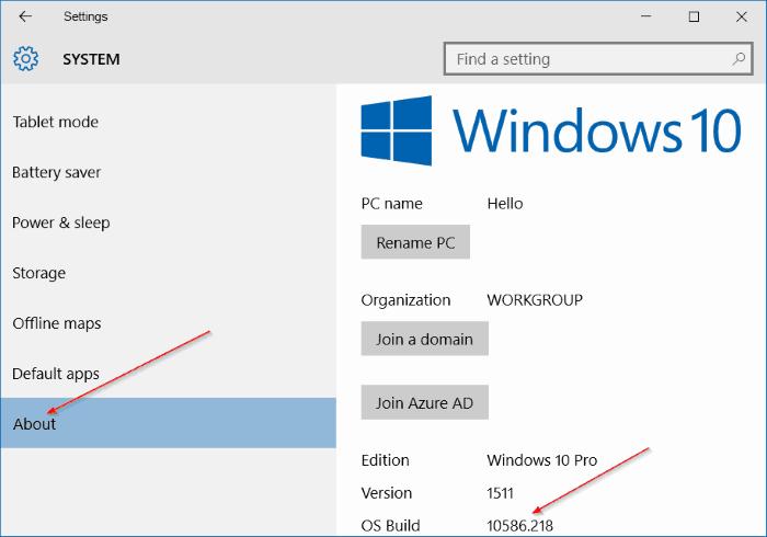 Vào Setting (cài đặt) để kiểm tra số Build windows 10