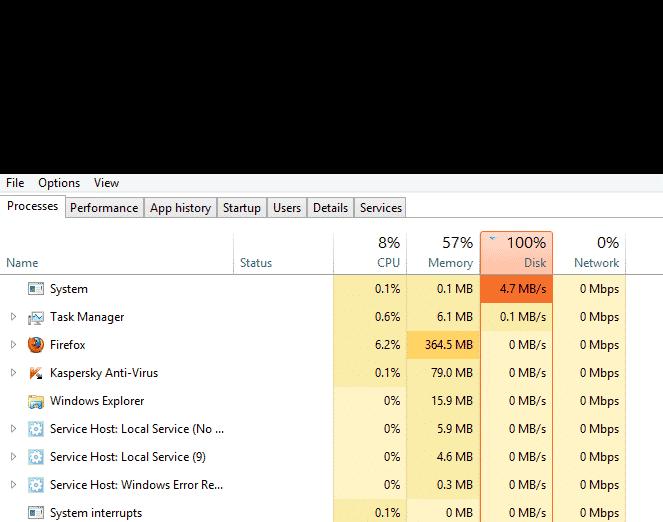 khắc phục Sửa lỗi Full Disk 100%