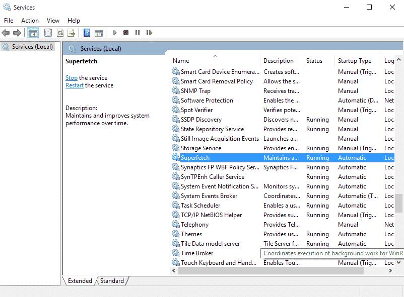 Sửa lỗi Full Disk 100 % bằng cách Tắt dịch vụ Services Supertech