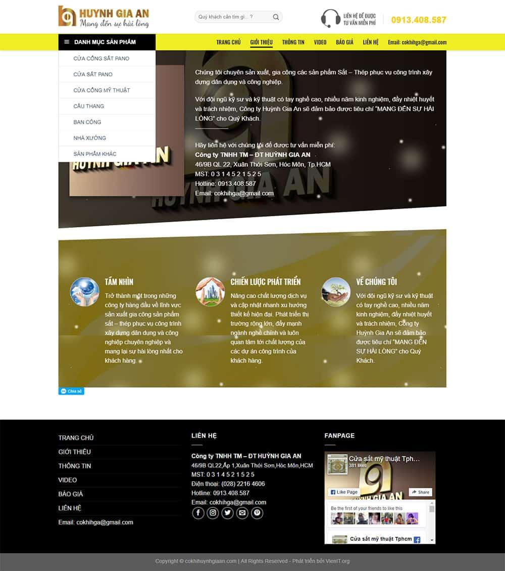 trang giới thiệu cửa sắt công ty huỳnh gia an
