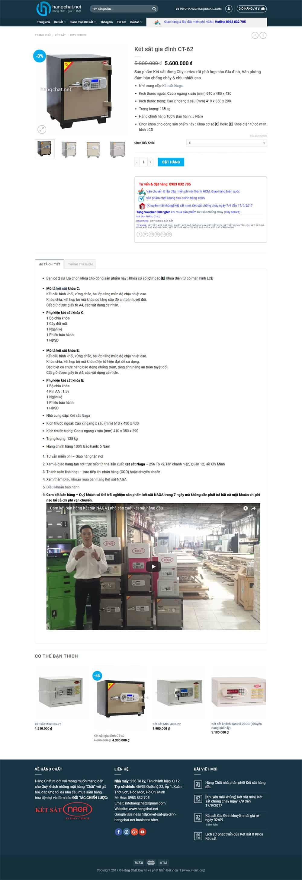 Giao diện của Trang Sản phẩm Thương mại điện tử  hangchat.net