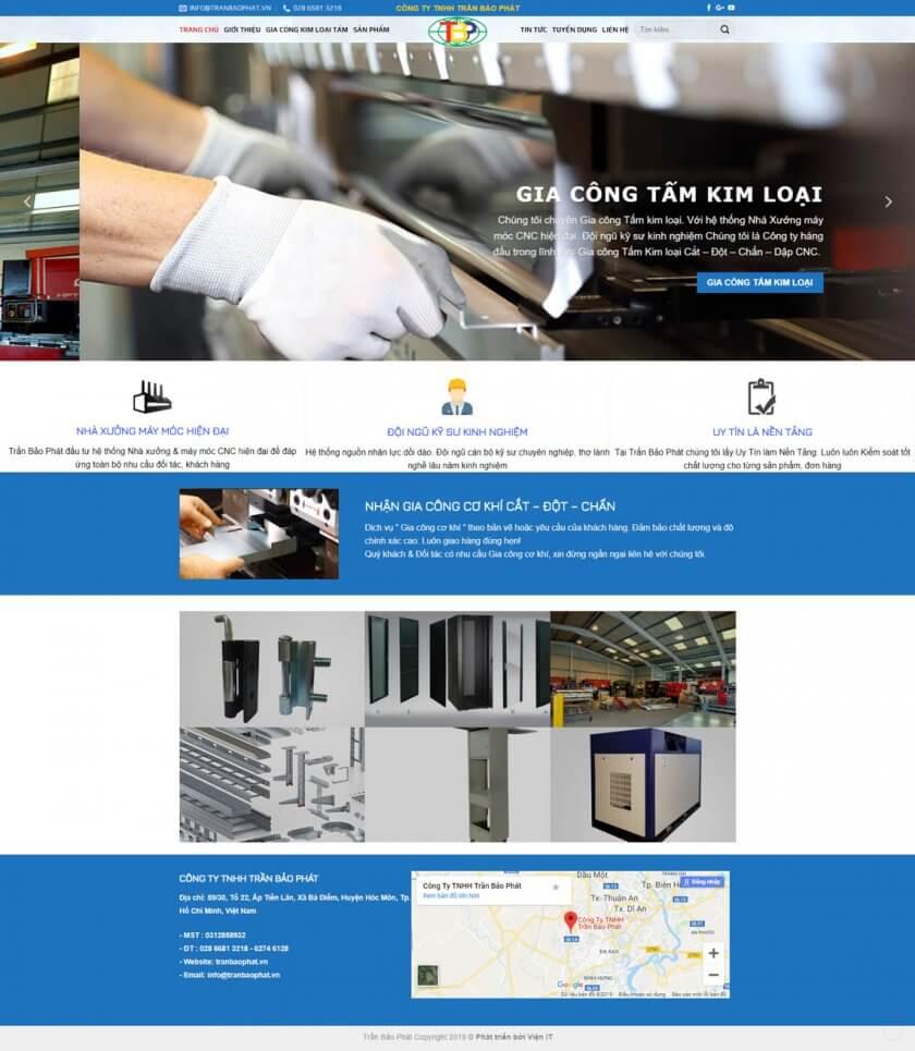 Thiết kế website doanh nghiệp gia công tấm kim loại