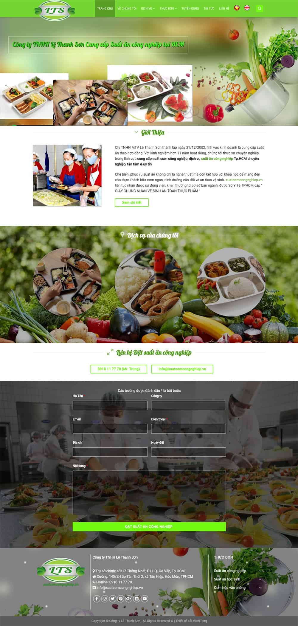 Giao diện website cung cấp thực phẩm sang trọng