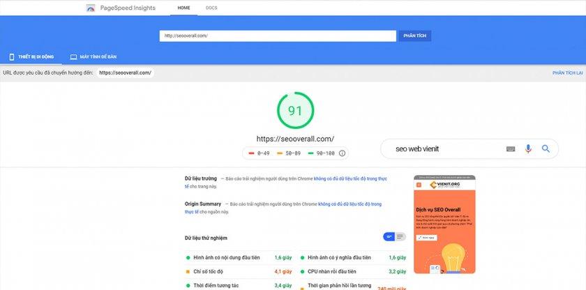 hướng dẫn tối ưu tốc độ website và điể Google PageSpeed trên Mobile
