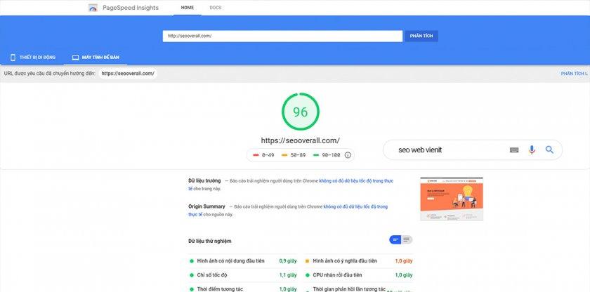 hướng dẫn tối ưu tốc độ website và điể Google PageSpeed trên PC