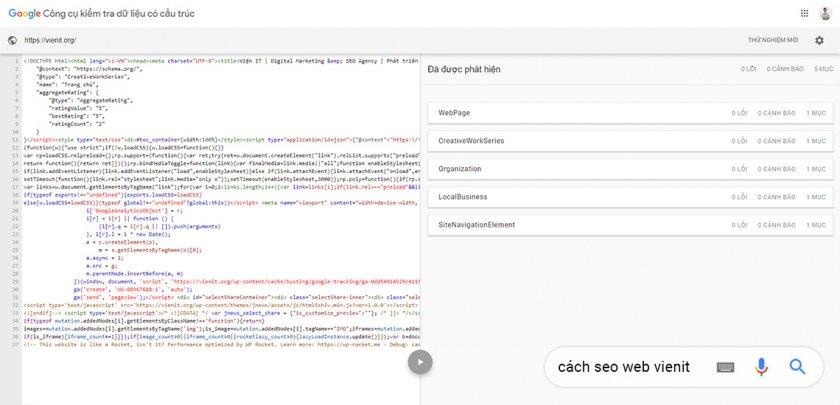 Công cụ kiểm tra dữ liệu có cấu trúc của Google