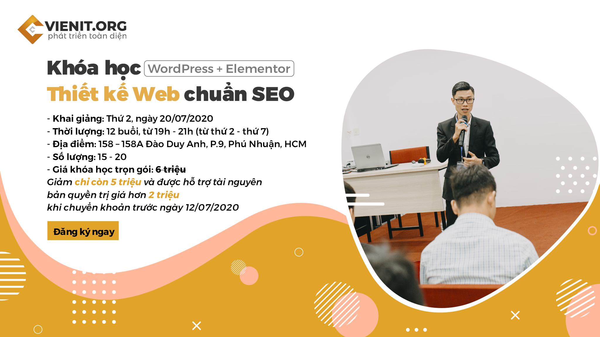 Khóa học thiết kế website chuẩn SEO Viện IT 20/07/2020