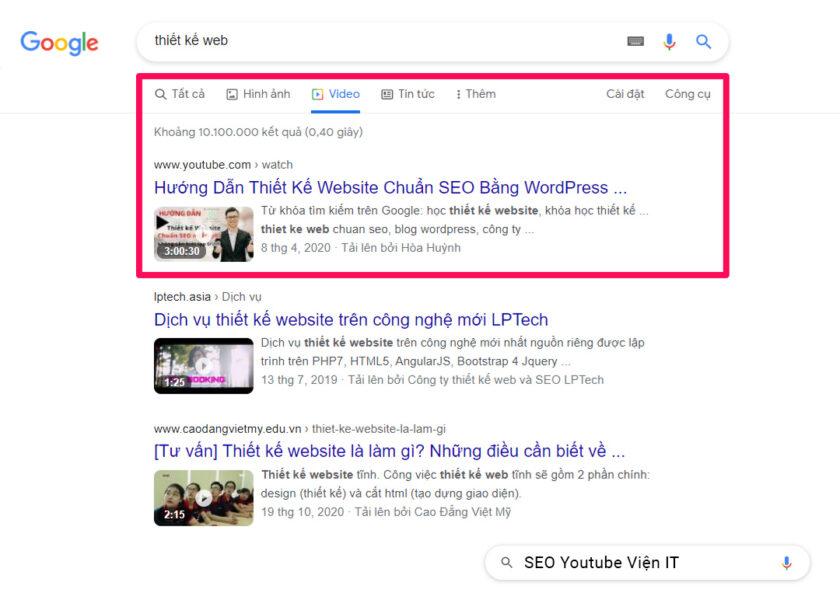 Hình thức TOP trên google.com.vn menu tab Video